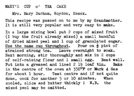 vintage tea cake loaf recipe