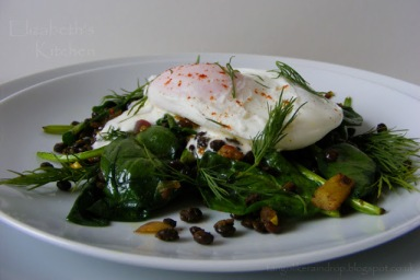 Puy Lentil Poached Egg Breakfast